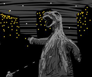 Someone shooting Godzilla