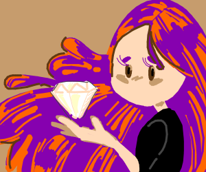 Girl with Orange Purple hair holding diamond