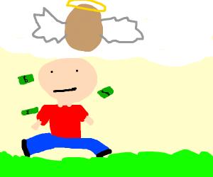 egg god makes it rain on squatting man/woman