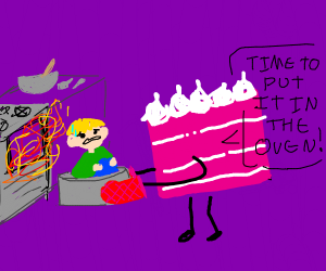 A cake baking humans