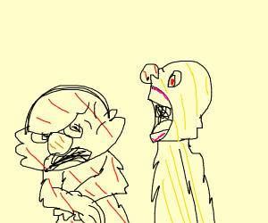 elmo is annoyed of yellmos screaming