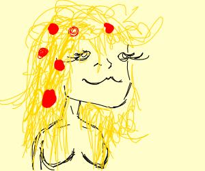 Girl has spaghetti hair