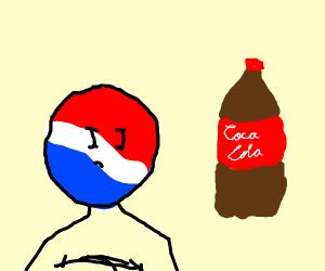 Pepsiman despises Coca-Cola