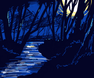 Peaceful night scene w/ a brook and a forest