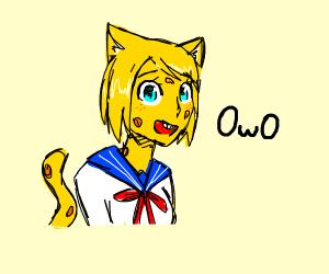 OwO cat schoolgirl spongebob