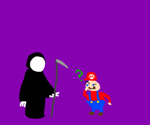 mario questions bald white man wearing hoodie
