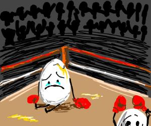 sad egg lost a boxing match