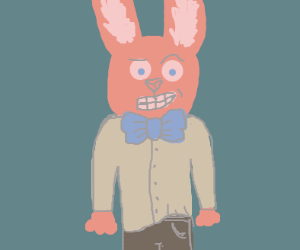 Pink bunny with a bowtie