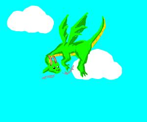 Awe, a cute green flying dragon!