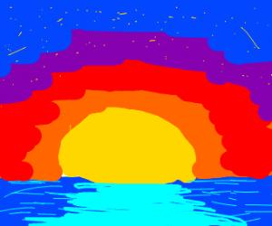 sunset sinking into ocean