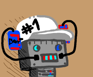 a #1 hat with drinks worn by a robot head