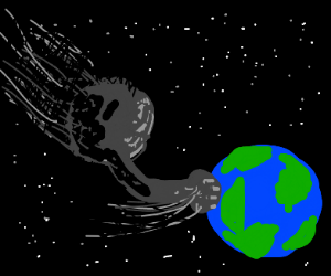 Meteor hitting Earth (with fist)