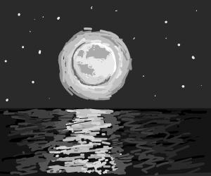 moon shining onto water