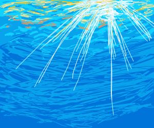 sun set under the sea