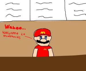 Mario working in McDonald's