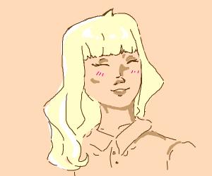 happy blond anime girl