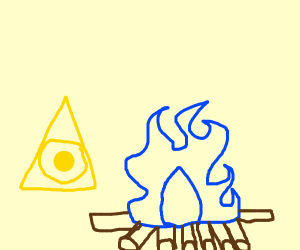 yellow illuminati burning blue fire