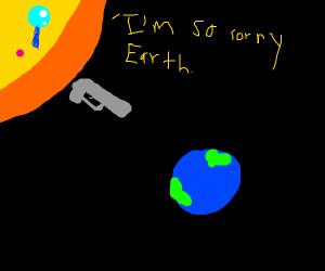 Sun aims a gun at earth