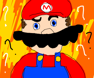 mario with an overgrown mustache confused at