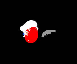 Red posh cough drop about to shoot