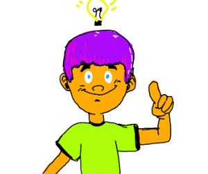 guy with purple hair has an idea