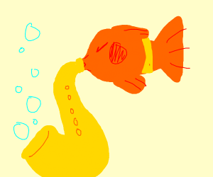 Fish playing the saxophone