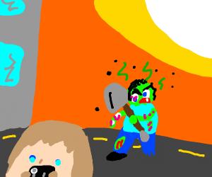 Zombie walking towards man with shovel