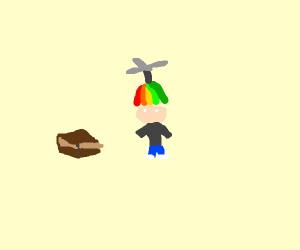 Helicopter hat wearing man with box.