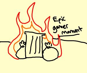 Trash epically burning on fire