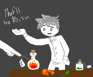 The potion seller and his potion shop