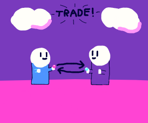 Two people trading gumballs?