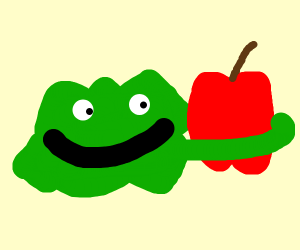Green blob in love with apple