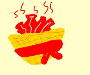 Bacon in a straw basket
