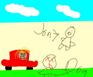 girl runs over jon's dog on accident