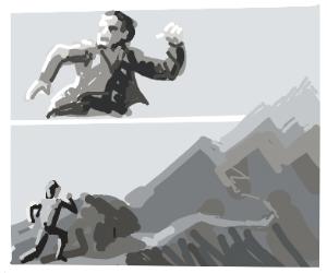 Running away on mountain