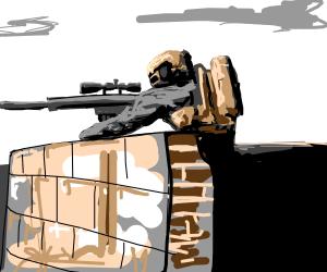 A sniper aiming at someone