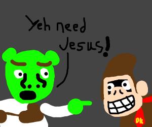 Shrek tells DK he needs Jesus