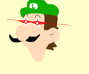 Glowing/glare eye meme Luigi