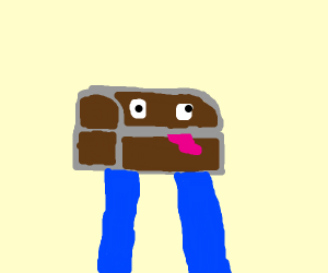 Treasure chest with blue shirt arms for legs