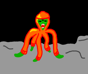 Angry alien with orange hoodie