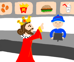 King of the Burgers buying in McDonalds