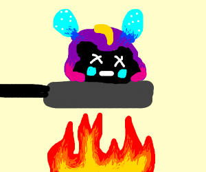 Cooking Nebby in a frying pan