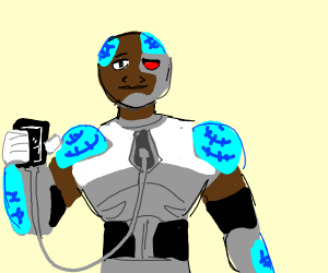 cyborg(TeenTitan) charging phone