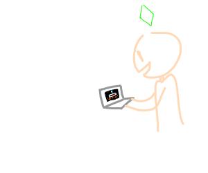 A sim smiles as he uses a laptop