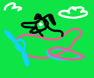 doggo riding a pink plane