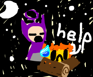 teletubbies worshiping a campfire
