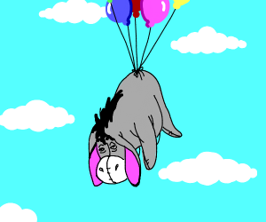 eeyore floating with balloons on his back