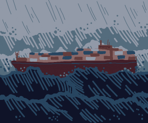 A cargo ship caught in a storm