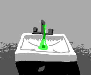 Some nasty green goo coming from a sink