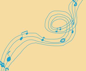 Music swirls by.